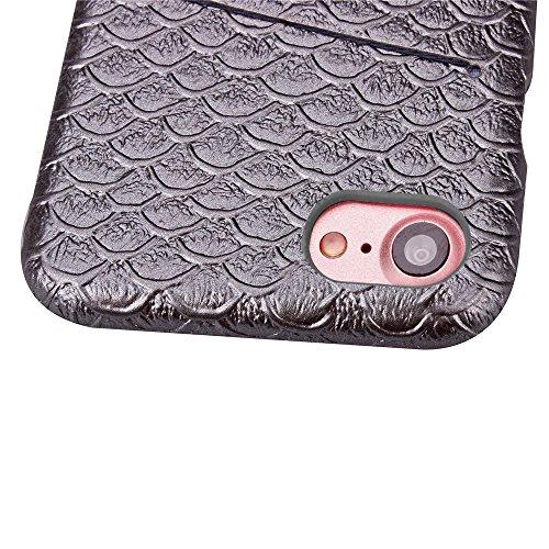 iPhone 7 Hülle, Cozy Hut ® Design Genuine Leather Series Hülle | Apple iPhone 7 | [Mermaid Fischschuppenmuster] Elastisch [grau] Ultimative Schutz vor Stürzen und Stößen - [Skinning-Karte] Zubehör Tas