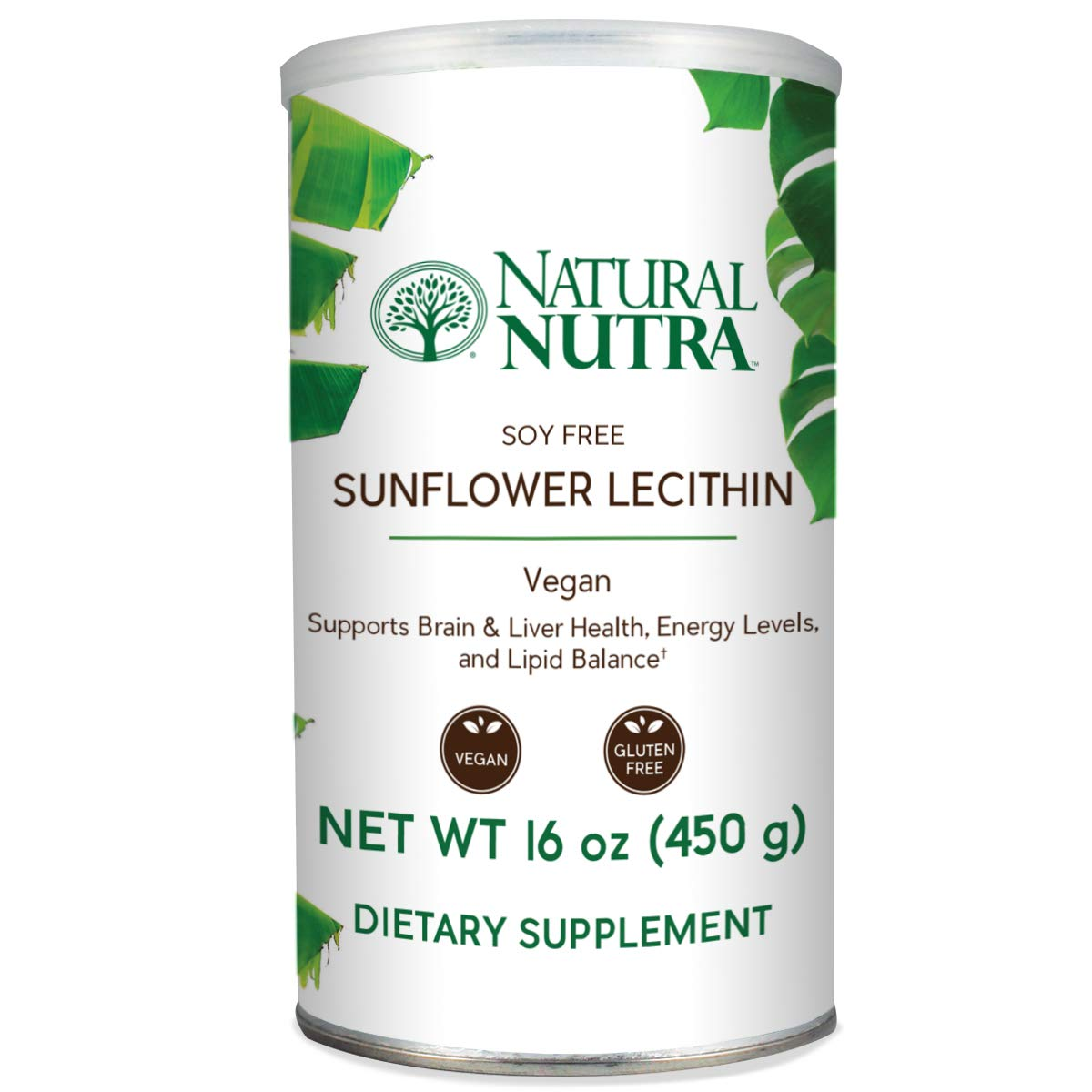 Natural Nutra Sunflower Lecithin Powder, Soy Free with Inositol, Omega 3-6 and Choline, 16 oz Vegan Supplement