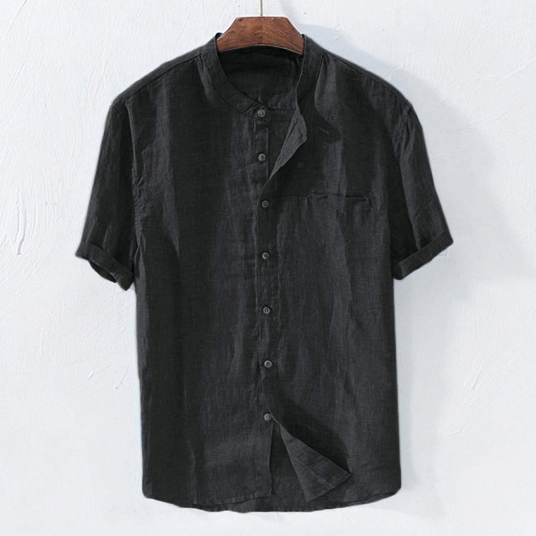 Shirt Men Summer Short Sleeved Baggy Cotton Solid Button Beach Shirts