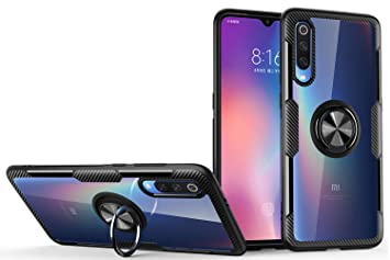 SORAKA Funda para Xiaomi Mi 9,Transparente Carcasa con Soporte para Anillo,Compatible con Soporte Móvil Coche Magnético