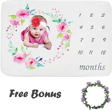 fleur Feuilles fleur B/éb/é Floral Couronne Impression Milestone Couverture avec mensuel Toise Toile de fond pour nouveau-n/é b/éb/é Photographie Props