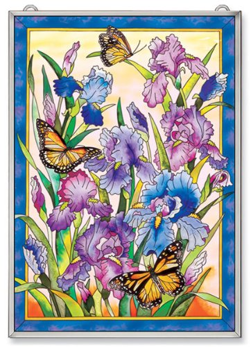 Amia Window Décor Panel Features a Colorful Iris and Butterfly Design, 11-Inches Width by 15.5-Inches Length, Handpainted Glass