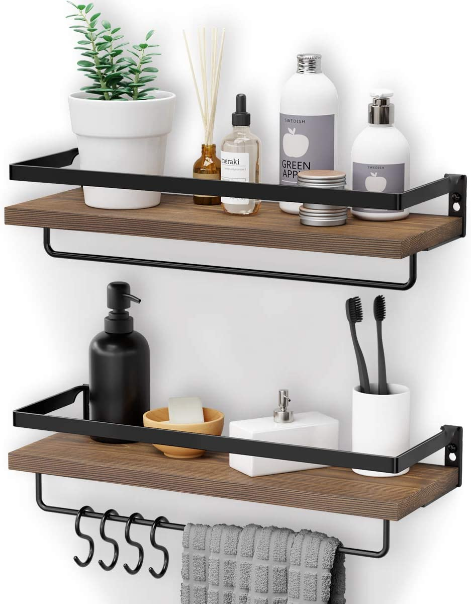 Amazon Com Homemaxs Floating Shelves Wall Mounted Multifunctional Bathroom Shelf With 2 Towel Holders 4 Extra Hooks Set Of 2 Decoration Shelves For Bathroom Kitchen And Living Room Home Kitchen