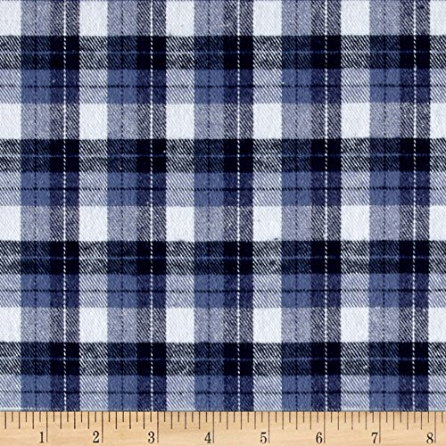 Richland Textiles Yarn Dyed Flannel Plaid Blue White Fabric By The Yard (Oz Shirt Flannel 5)