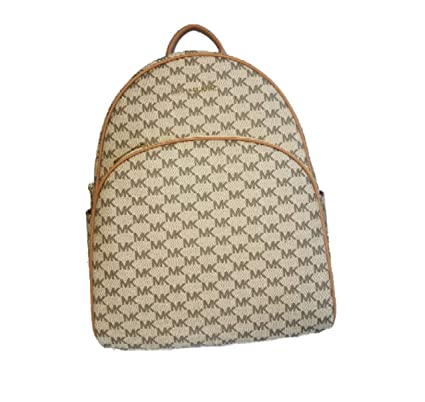83a48ee962b6 Amazon.com: Michael Kors Abbey Large Leather MK Logo Backpack,  Natural/Acorn: Computers & Accessories