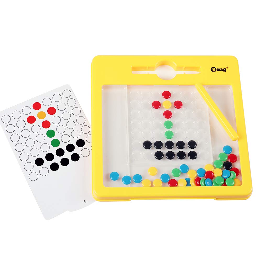 BMAG Magnetic Drawing Pad, Creative Doodle Board, Magnatab Toys, Magnetic M&M Dots Drawing Tablet, Educational Travel Doodle Toys for Toddler Kids Children (Small)