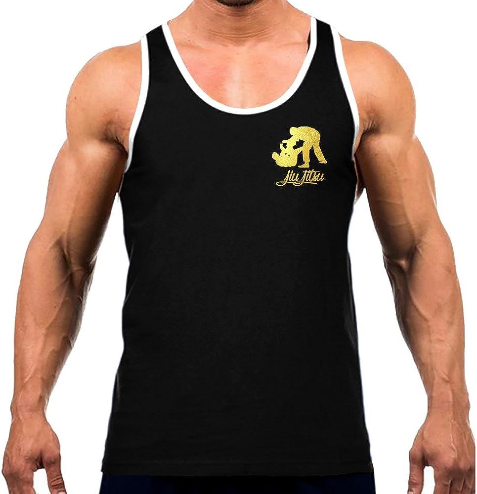 Interstate Apparel Inc Mens Gold Foil Jiu Jitsu Emblem Tee White Trim Black Tank Top Black