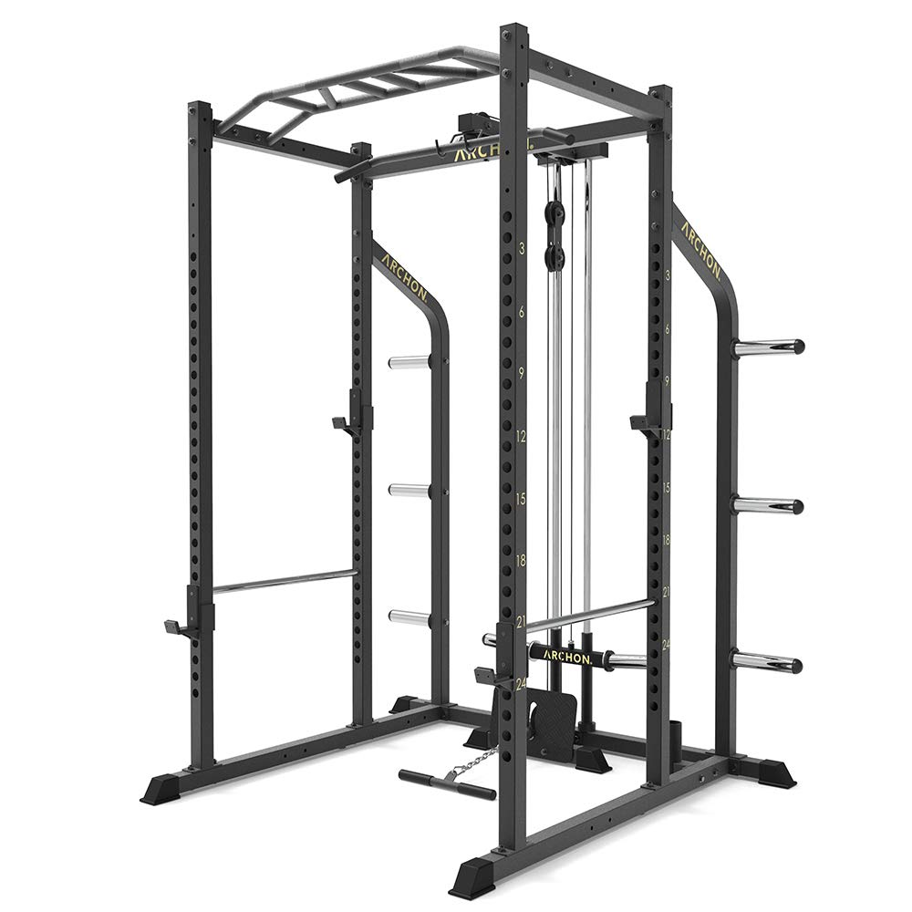 ARCHON Power Cage with LAT Pull and Low Row Cable Attachment | Squat Rack | Power Cage | Bench Stands | Power Weight Rack | Power Rack | Bench Press Rack | Powerlifting | Pullups | Squat Stands