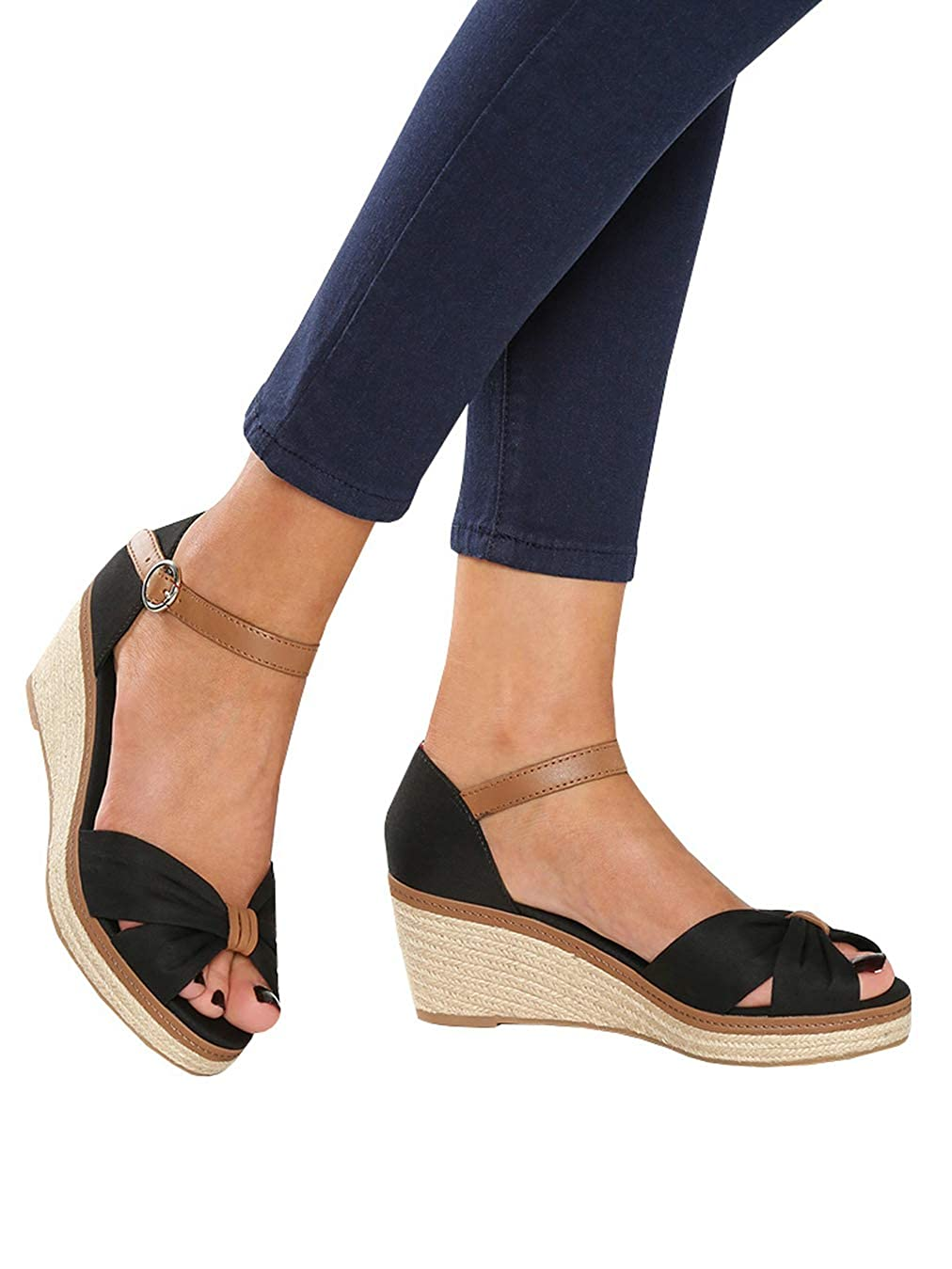 ec446ec5491 Ermonn Womens Wedge Espadrilles Platform Sandals Open Toe Buckle Ankle  Strap Summer Slingback Shoes