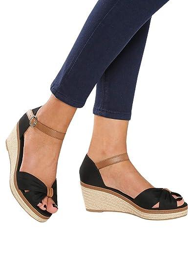a81501433d0 Ermonn Womens Wedge Espadrilles Platform Sandals Open Toe Buckle Ankle  Strap Summer Slingback Shoes