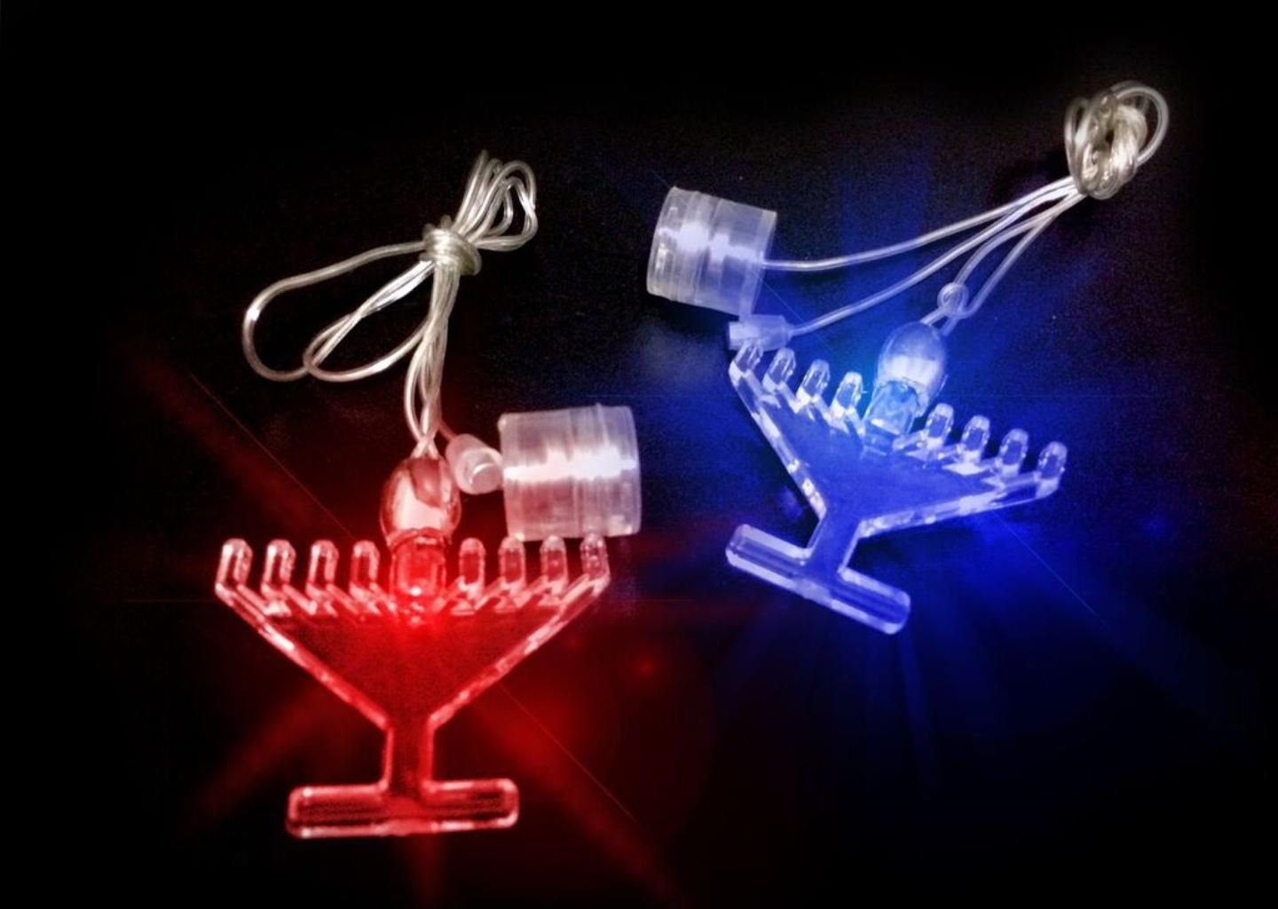 50 Hanukkah Glow in the Dark LED Menorah Necklace & Light Up Decoration for Chanukah Party by JewishInnovations.com