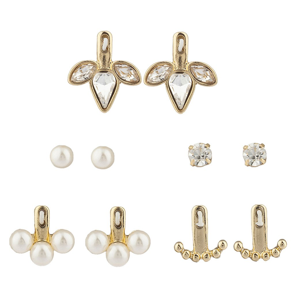 Lux Accessories Rose Gold Pearl Crystal Stone Ear Jacket Multi Earring Set 5PC