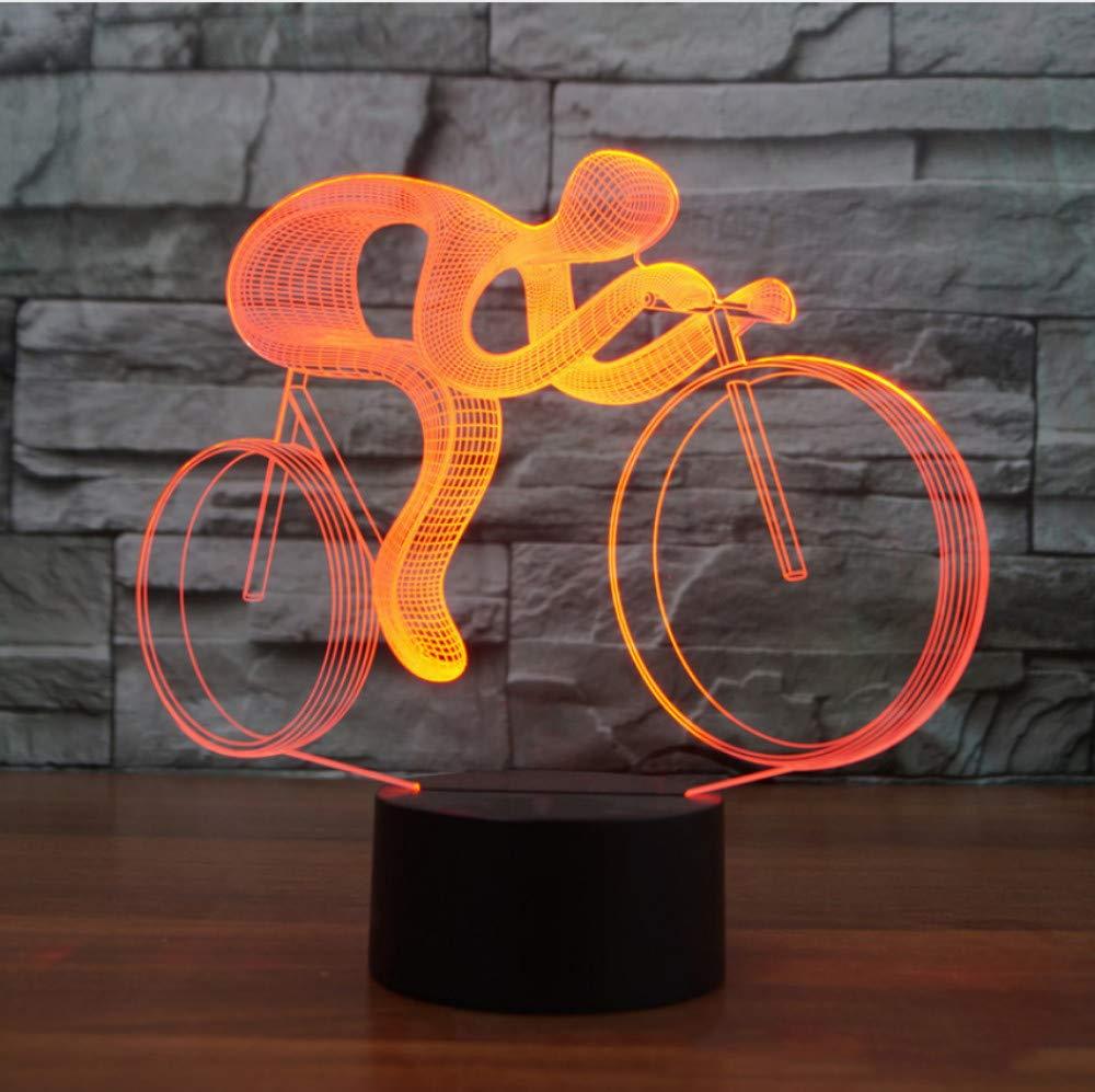 Reiten fahrrad 3d nachtlicht LED 7 farbwechsel visuelle tischlampe usb lampara fahrrad leuchte für kinder geschenk spielzeug decor