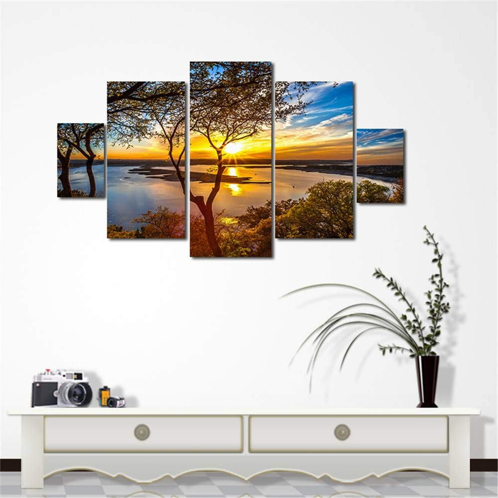 BFY 5pcs Modern Huge Wall Art Oil Painting On Canvas Sunset Unframed Room Decor