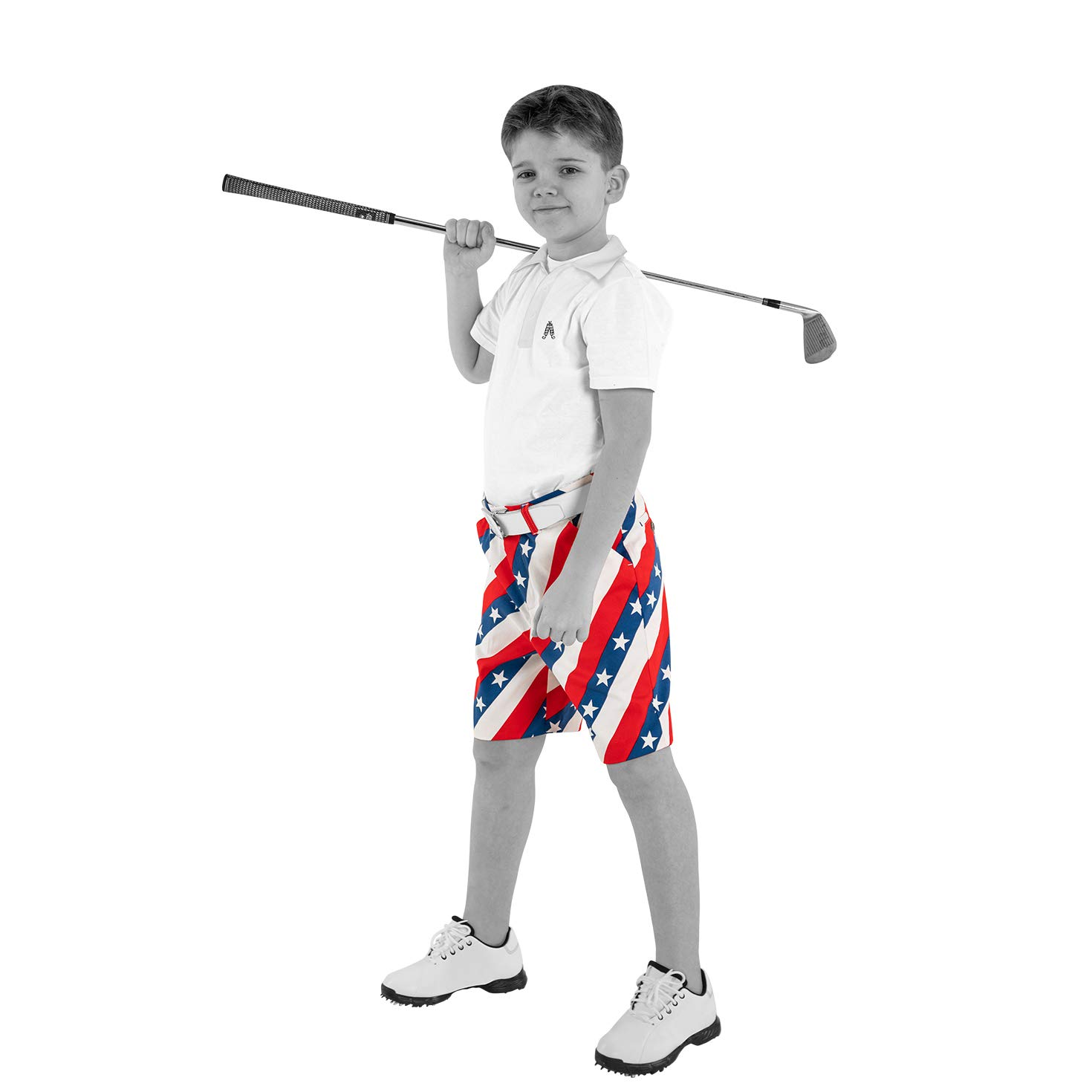Royal & Awesome Kids Pars and Stripes Bright Golf Shorts - Small Age 8-9 Years by Royal & Awesome