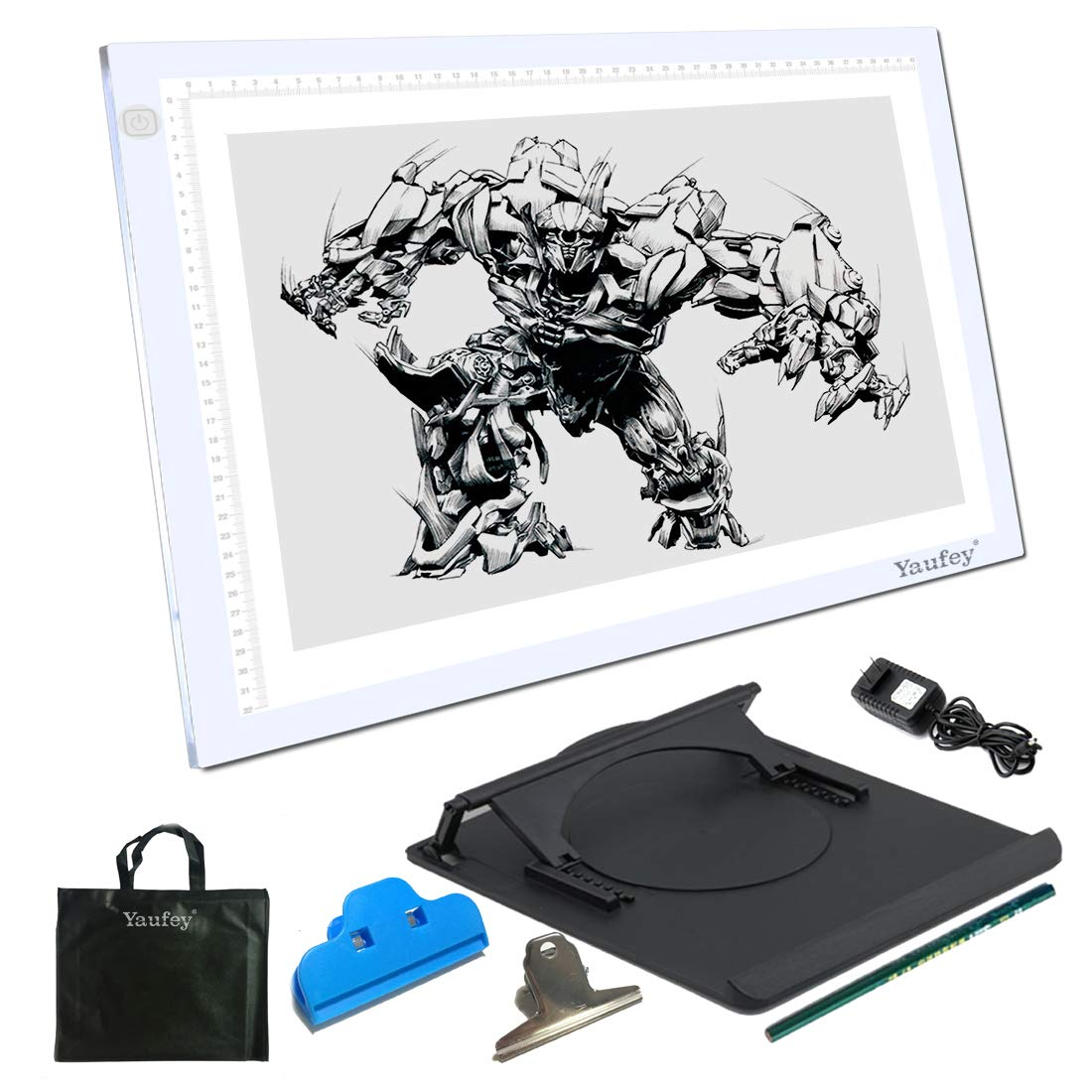 A3 Light Box,Yaufey Ultra-Thin Portable LED Artcraft tracing Board DC Power Cable 6 Levels Tracing Pad Copy Board for tracing Sketching Animation Designing X-ray Viewing