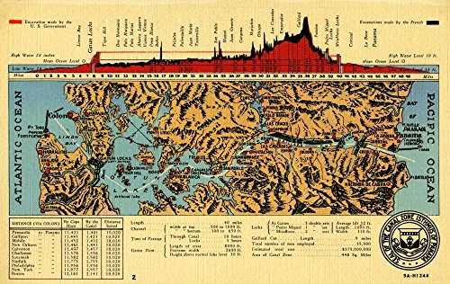 Map of the Panama canal from 1944 complete with elevations and details on the countries that contributed to building it Poster Print by Curt Teich & Company (18 x 24) (A Map Of The Country Of Panama)