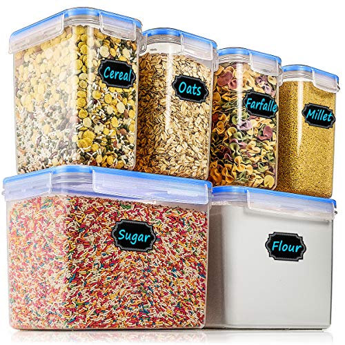 Airtight Food Storage Containers - Wildone Cereal & Dry Food Storage Container Set of 6, Leak-proof & BPA Free, With 1 Measuring Cup & 20 Chalkboard Labels & 1 Chalk Marker -