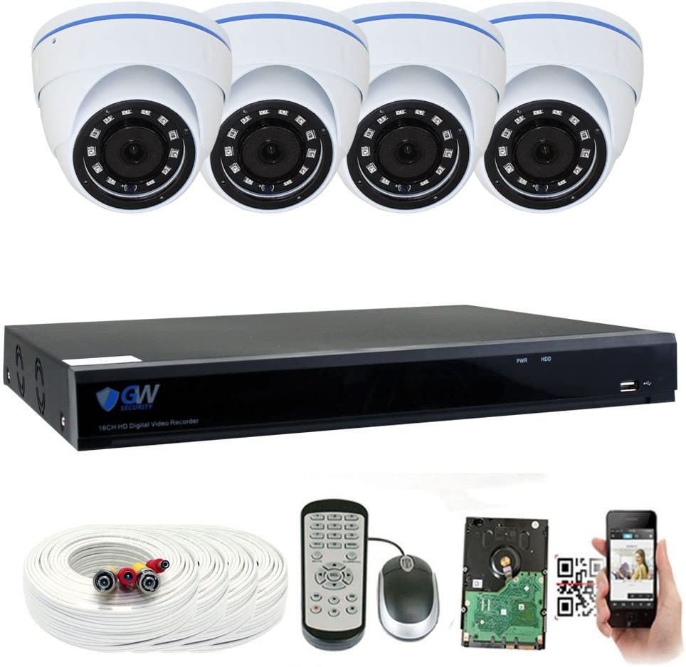 GW 8 Channel 5 Megapixel Video Day Night Security Surveillance System, 4 Weatherproof HD 5MP 2.5X 1080P Dome Cameras, Motion Detection Smart Search Email alert