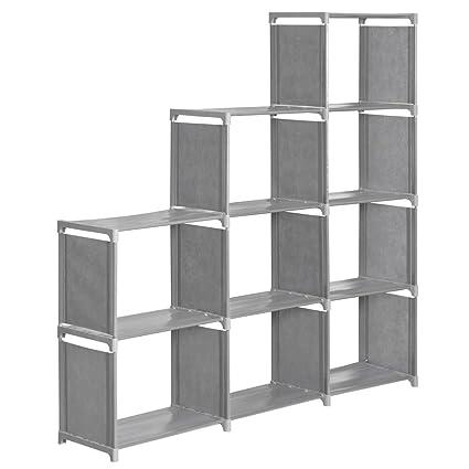 Bon INLYF 4 Tier Storage Cube Closet Organization System, 9 Cube DIY Bookshelf  Cabinet
