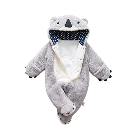 Pushally Otoño-Invierno Infante grueso pelele lindo dibujos animados oso forma de oso niño cálido