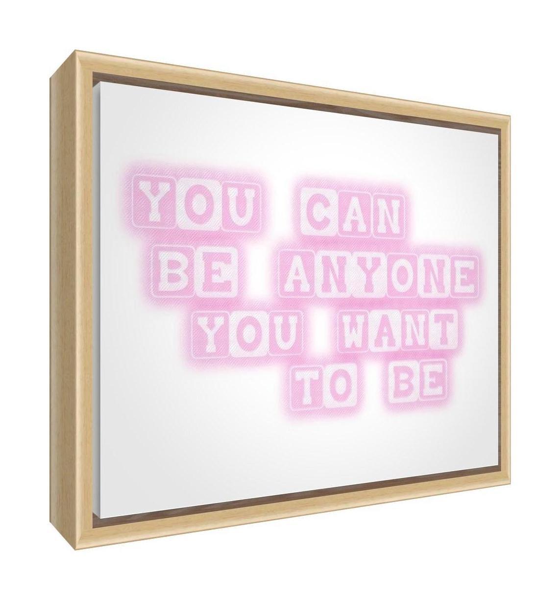 64/x 44/x 3/cm, grande, beige, usted puede ser cualquier persona que usted quiere ser Feel Good Art eco-printed y enmarcadas lona de guarder/ía con marco de madera natural maciza