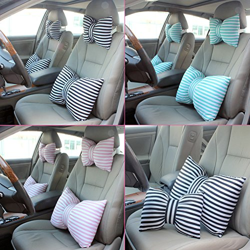 ForeverCase Creative Fashion Cotton New Striped Bow Car Head Pillow Lumbar Pillow Office Pillow Lumbar for Headrest - Black And White Stripes