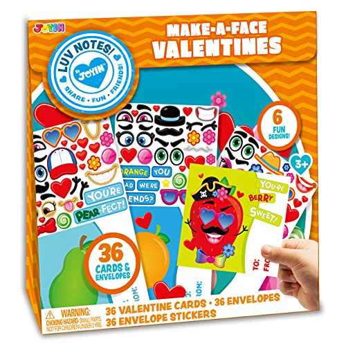 JOYIN 36 Pack Make-a-Face Valentines Day Cards Craft for kids with Fruit Design, Valentine