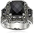 Sterling Silver Checkerboard Cut Onyx and Marcasite Ladies Ring, Size 7