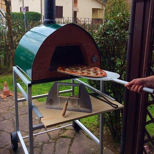 "Pizza Party wood fired pizza oven 70x70 ""Green"" + door with glass"