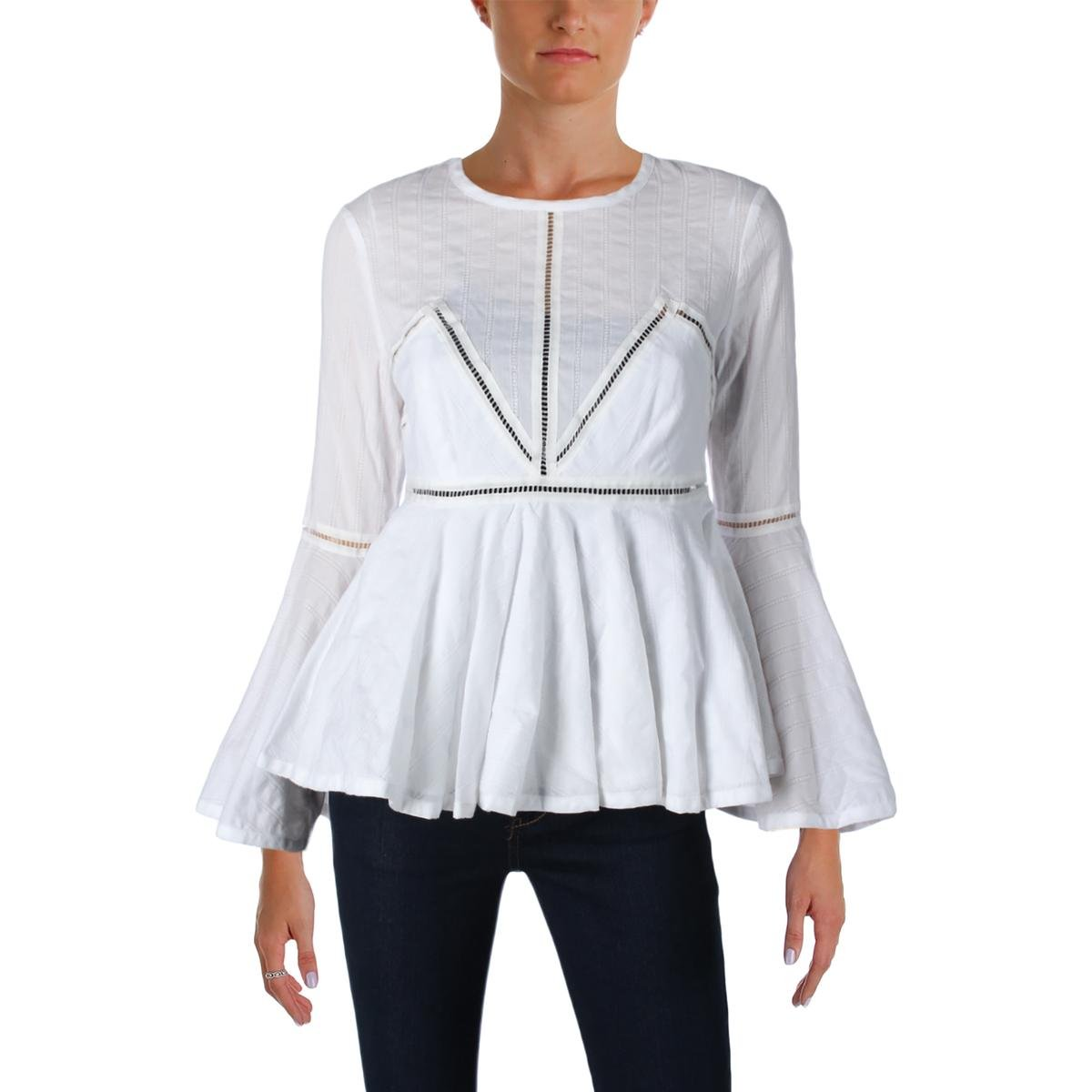 Cinq a Sept Womens Marseille Poplin Bell Sleeves Peplum Top White L