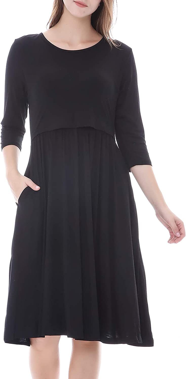 Smallshow Womens 3//4 Sleeve Nursing Dress Maternity Breastfeeding Clothes