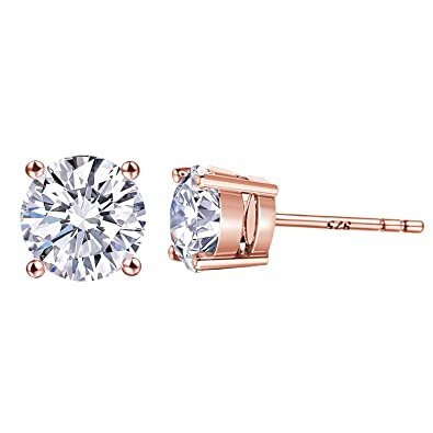 365b05fc9 Large CZ Fake Diamond Stud Earrings - 18K Rose Gold Plated Cubic Zirconia  Earrings 925 Sterling