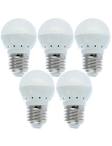 Lote de 5 bombillas LED E27, luz blanca cálida, bajo w=3