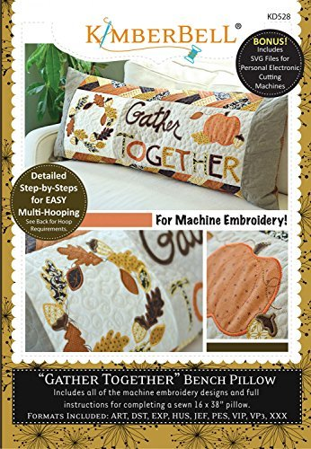 Pumpkin Embroidery Design - KimberBell - Gather Together - Bench Pillow Machine Embroidery CD