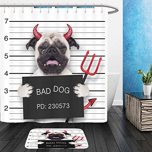 Vanfan Bathroom 2?Suits 1 Shower Curtains & ?1 Floor Mats halloween devil pug dog crying in a mugshot caught on with photo camera in police station jail 319956530 From Bath (Devil Halloween Costume Ebay)