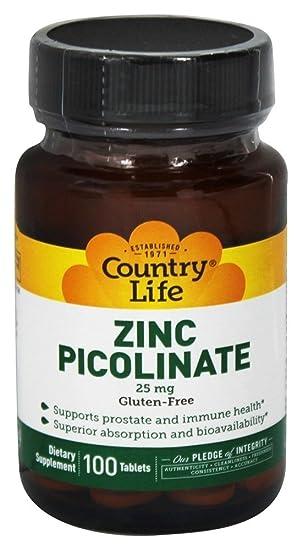 Country Life, Libre de Gluten, Zinc Picolinato - 25mg x100tabs: Amazon.es: Salud y cuidado personal