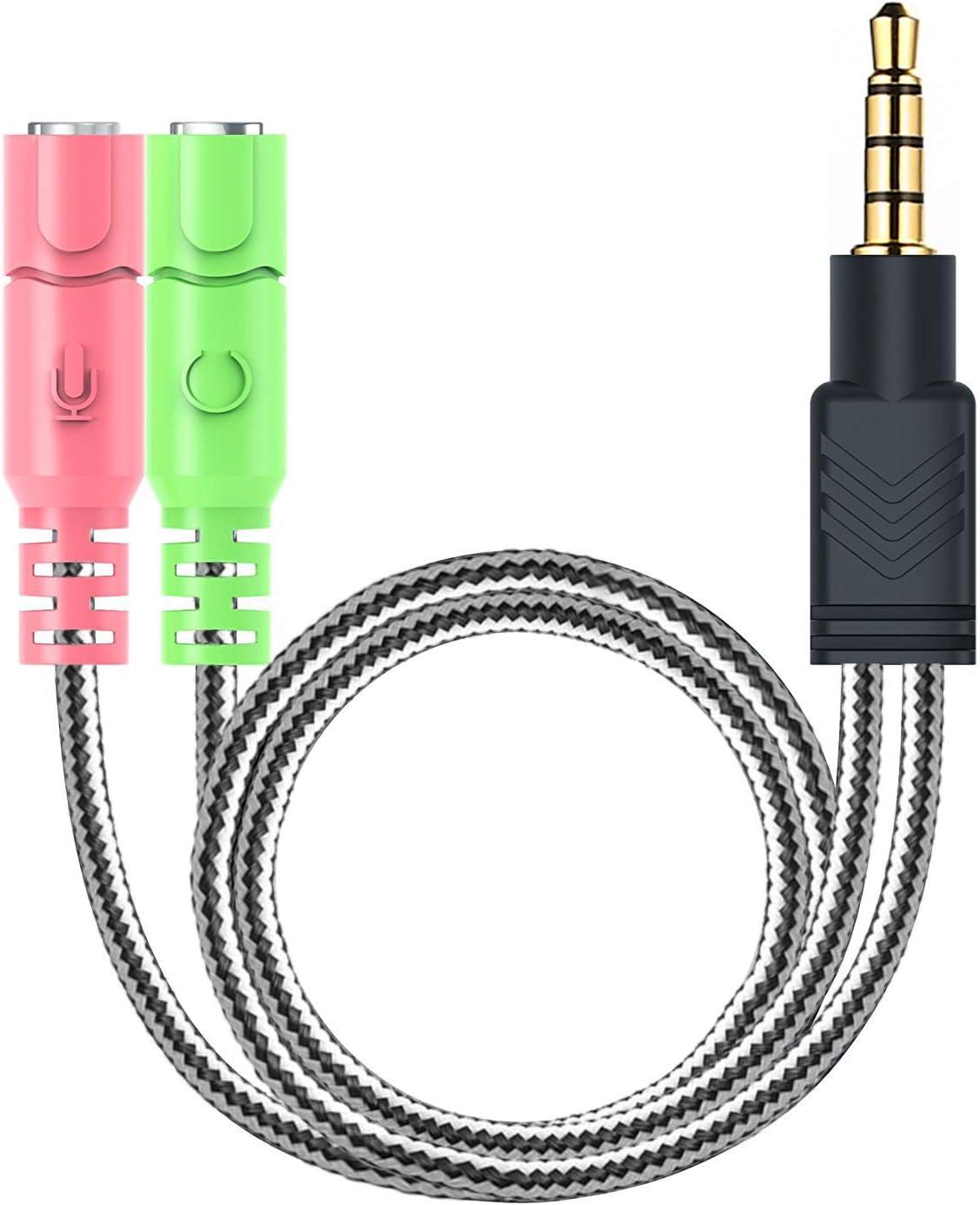 MillSO 3.5mm Audio Jack Y Cable - Adaptador para auriculares (3.5mm Jack estéreo a 2x 3.5mm Jack) para auriculares para juegos, Xbox One, PS4, Smartphones y Laptop - 20CM