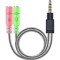 MillSO Kopfhörer Splitter Adapter - 3.5mm Audio Klinke Y Kabel (3.5mm Stereo Klinkenstecker auf 2x 3,5mm Buchse) für Gaming Headset, PS4, Xbox One, Smartphones und Laptop - 20CM Schwarz