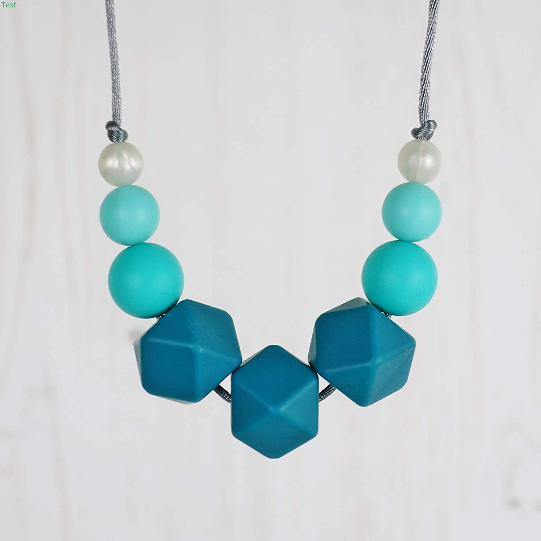 Silicone Teething Breastfeeding Necklace for Mum. UK Handmade. FLORA: TEAL