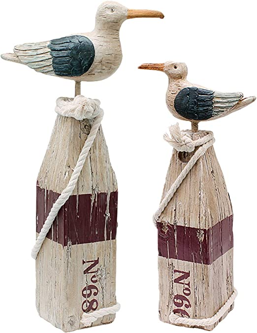 Set Of 2 Nautical Seagull Welcome Beach Resin Plaque Ornaments High Colour