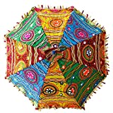 Bohemian Handmade Design, Cotton Multi Color Embrodiery Sun Umbrella Parasol 24 Inches (YELLOW, FOREST GREEN, BURGUNDY, CYAN)