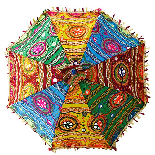 (Bohemian Handmade Design, Cotton Multi Color Embrodiery Sun Umbrella Parasol 24 Inches (YELLOW, FOREST GREEN, BURGUNDY, CYAN))