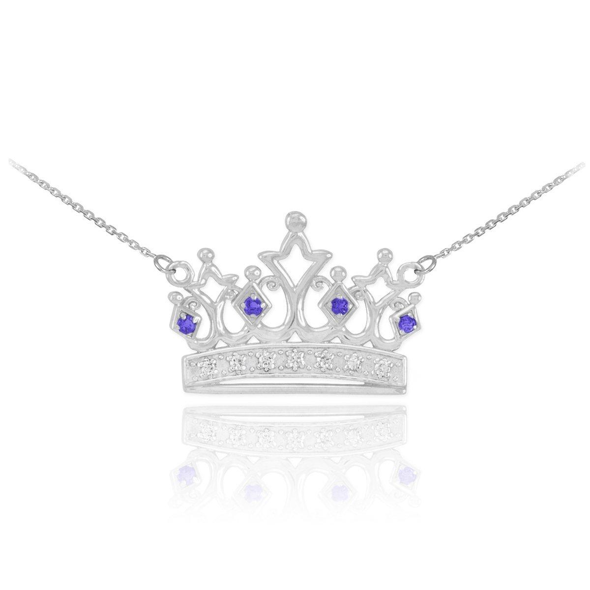 Dainty 14k White Gold Blue Sapphire and Diamond Tiara Charm Crown Pendant Necklace