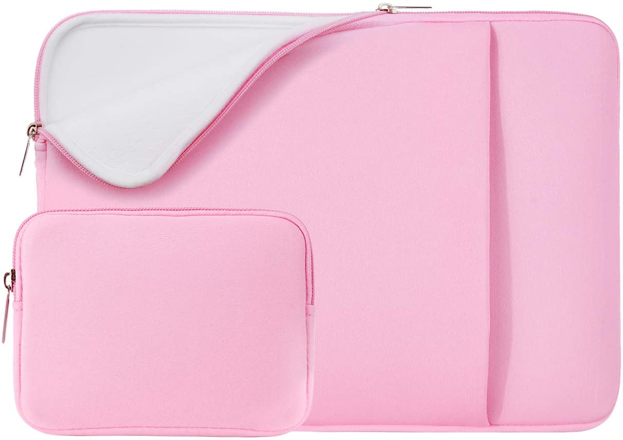"""RAINYEAR 13 Inch Laptop Sleeve Soft Lining Case Cover Bag with Pocket & Accessories Pouch,Compatible with 13.3 MacBook Pro Air/Retina/Touch Bar for 13"""" Notebook Chromebook(Pink,Upgraded Version)"""