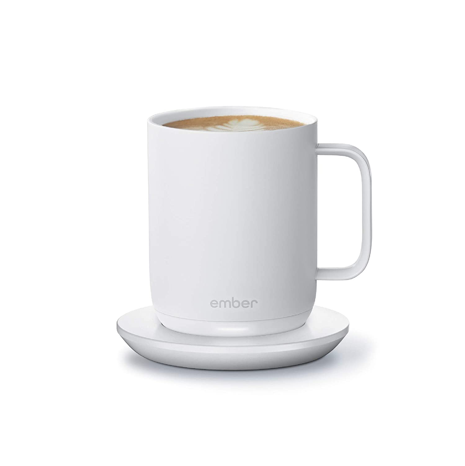 NEW Ember Temperature Control Smart Mug 2, 10 oz, White, 1.5-hr Battery Life - App Controlled Heated Coffee Mug - Improved Design