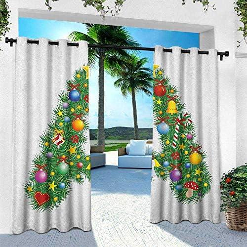 leinuoyi - Ojal de Cortina para Exteriores con diseño de Letra A, árbol de la Estrella de Invierno, Celebraciones de Invierno, ángel Rezando, diseño de Letra A, Cortina para Exteriores para Patio: