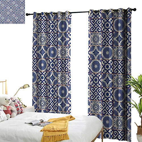longbuyer Moroccan Decorative Curtains for Living Room Old Ottoman Style Inspired Mix of Moroccan Tiles in Modern Shades Artwork Print W96 x L84,Suitable for Bedroom Living Room Study, etc. ()