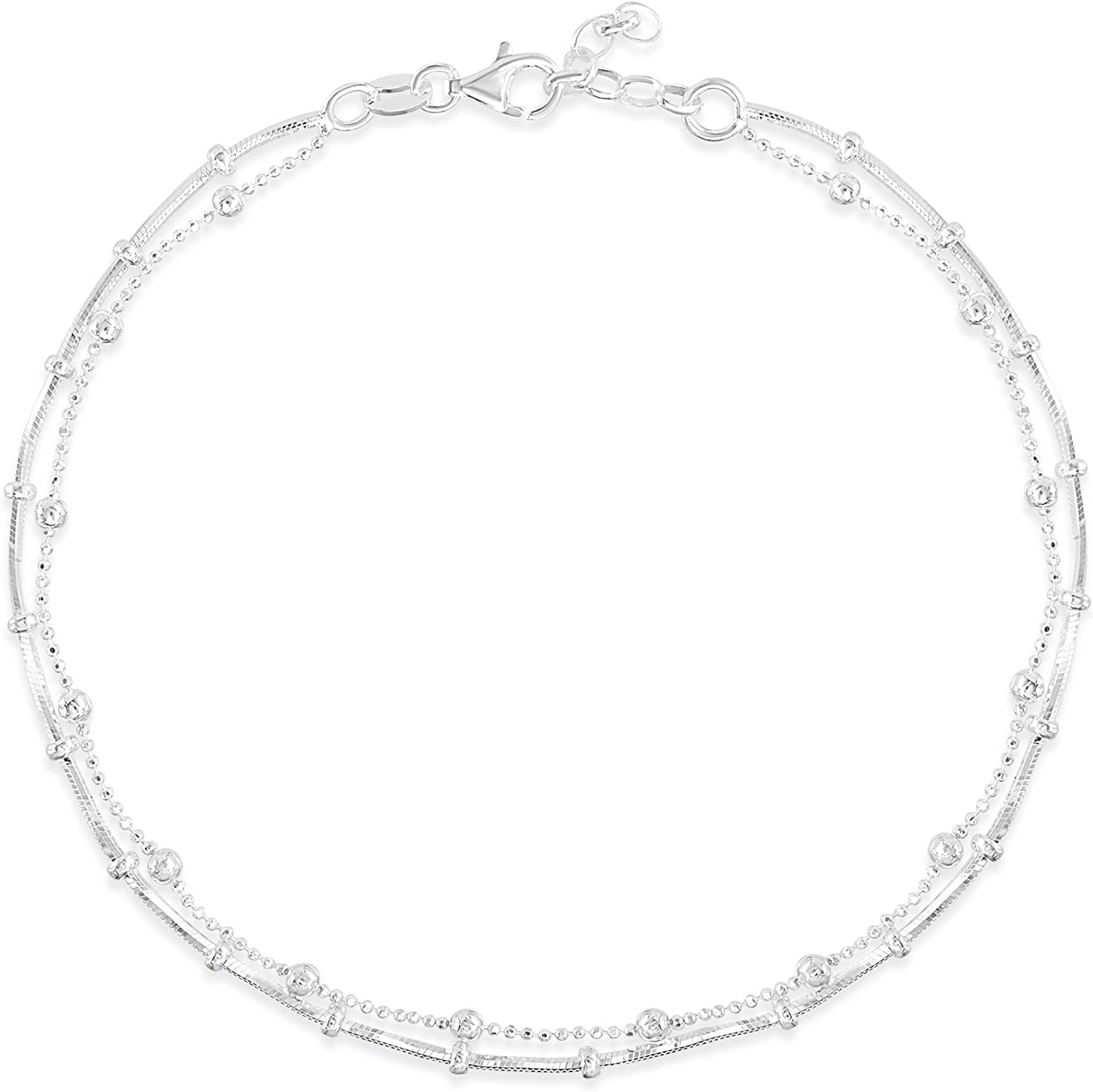 MIA SARINE Rhodium Plated Sterling Silver 10 Inch Bar Bead Chain Layered Anklet for Women