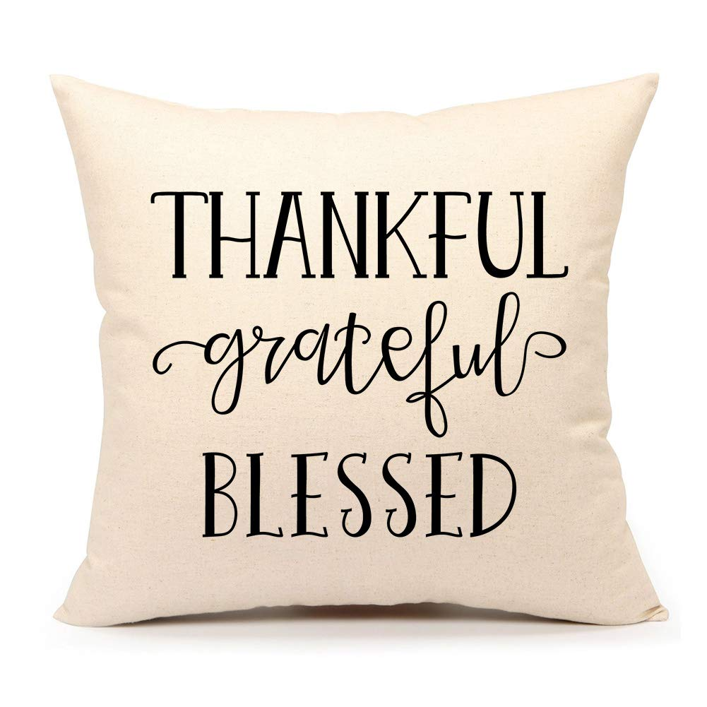 4TH Emotion Grateful Thankful Blessed Throw Pillow Cover Fall Cushion Case 18